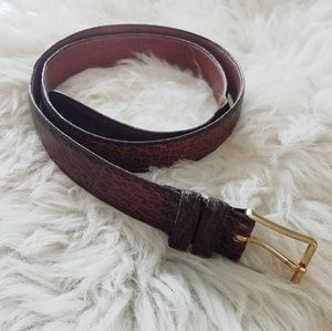 Coach Water Buffalo & Solid Brass Mahogany Belt